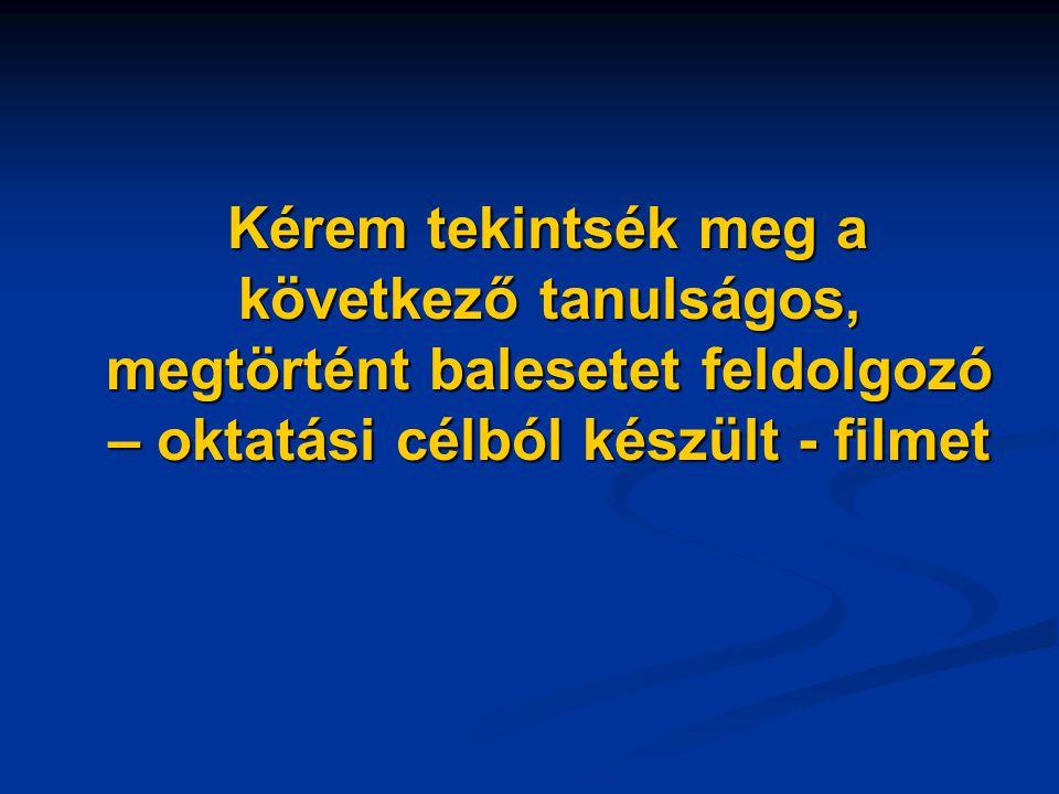 Kérem tekintsék meg a következő tanulságos, megtörtént balesetet feldolgozó – oktatási célból készült - filmet Kérem tekintsék meg a következő tanulságos, megtörtént balesetet feldolgozó – oktatási célból készült - filmet