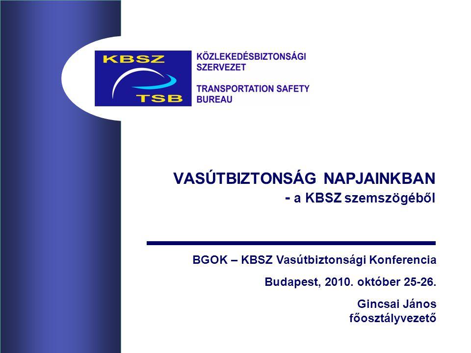 VASÚTBIZTONSÁG NAPJAINKBAN - a KBSZ szemszögéből BGOK – KBSZ Vasútbiztonsági Konferencia Budapest, 2010. október 25-26. Gincsai János főosztályvezető