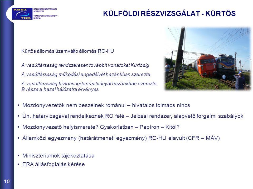 Kürtös állomás üzemváltó állomás RO-HU A vasúttársaság rendszeresen továbbít vonatokat Kürtösig A vasúttársaság működési engedélyét hazánkban szerezte