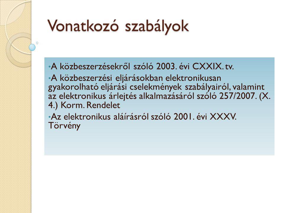 Vonatkozó szabályok A közbeszerzésekről szóló 2003. évi CXXIX. tv. A közbeszerzési eljárásokban elektronikusan gyakorolható eljárási cselekmények szab