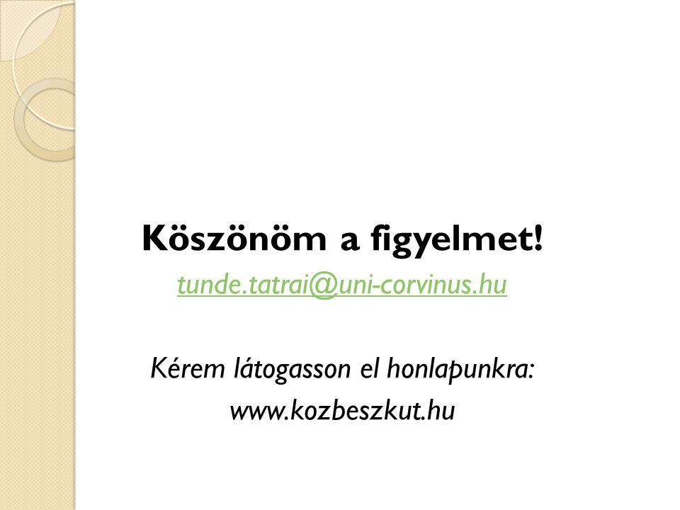 Köszönöm a figyelmet! tunde.tatrai@uni-corvinus.hu Kérem látogasson el honlapunkra: www.kozbeszkut.hu
