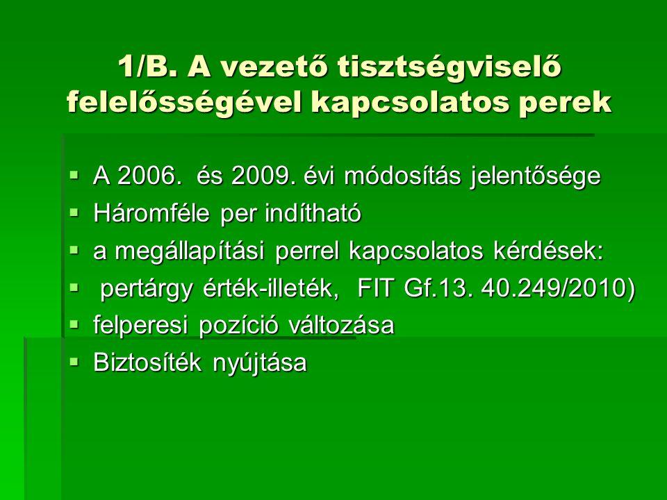 1/B. A vezető tisztségviselő felelősségével kapcsolatos perek  A 2006. és 2009. évi módosítás jelentősége  Háromféle per indítható  a megállapítási