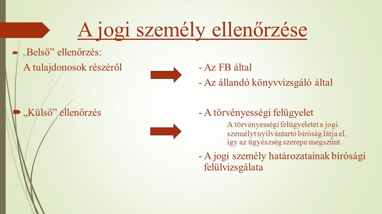 """A jogi személy ellenőrzése  """" Belső"""" ellenőrzés: A tulajdonosok részéről - Az FB által - Az állandó könyvvizsgáló által  """"Külső"""" ellenőrzés- A törvé"""