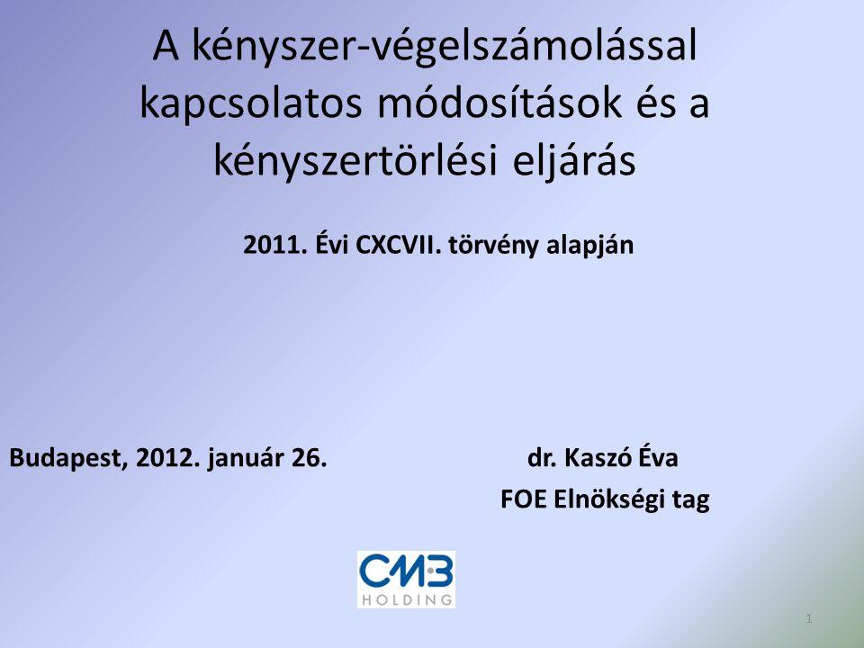 A kényszer-végelszámolással kapcsolatos módosítások és a kényszertörlési eljárás Budapest, 2012. január 26.dr. Kaszó Éva FOE Elnökségi tag 2011. Évi C