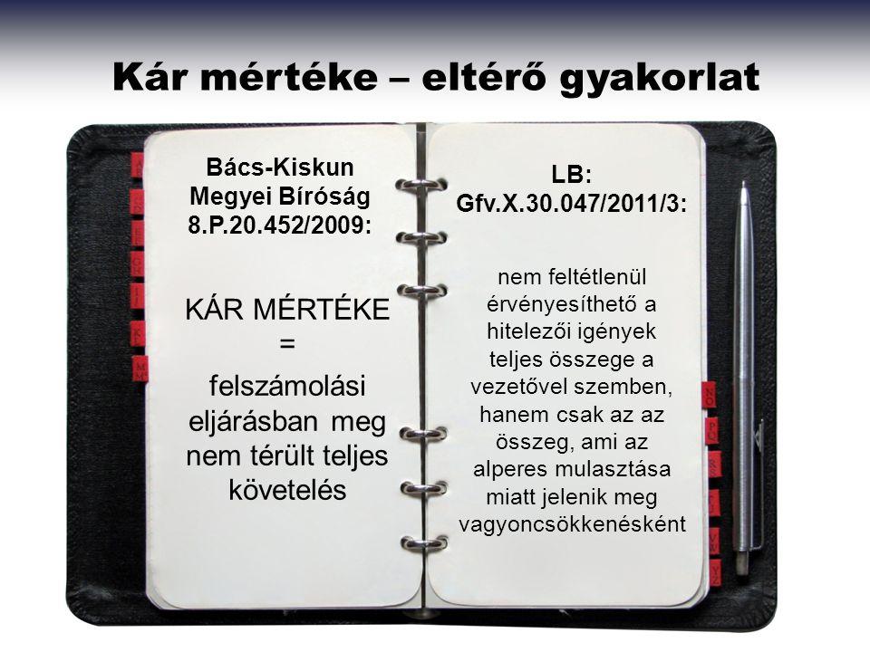 Kár mértéke – eltérő gyakorlat Bács-Kiskun Megyei Bíróság 8.P.20.452/2009: LB: Gfv.X.30.047/2011/3: KÁR MÉRTÉKE = felszámolási eljárásban meg nem térü