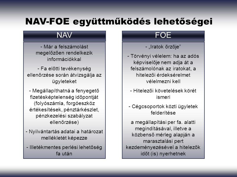 """NAV-FOE együttműködés lehetőségei NAVFOE - Már a felszámolást megelőzően rendelkezik információkkal - Fa előtti tevékenység ellenőrzése során átvizsgálja az ügyleteket - Megállapíthatná a fenyegető fizetésképtelenség időpontját (folyószámla, forgóeszköz értékesítések, pénztárkészlet, pénzkezelési szabályzat ellenőrzése) - Nyilvántartás adatai a határozat mellékletét képezze - Illetékmentes perlési lehetőség fa után - """"Iratok őrzője - Törvényi vélelem: ha az adós képviselője nem adja át a felszámolónak az iratokat, a hitelezői érdeksérelmet vélelmezni kell - Hitelezői követelések körét ismeri - Cégcsoportok közti ügyletek felderítése a megállapítási per fa."""