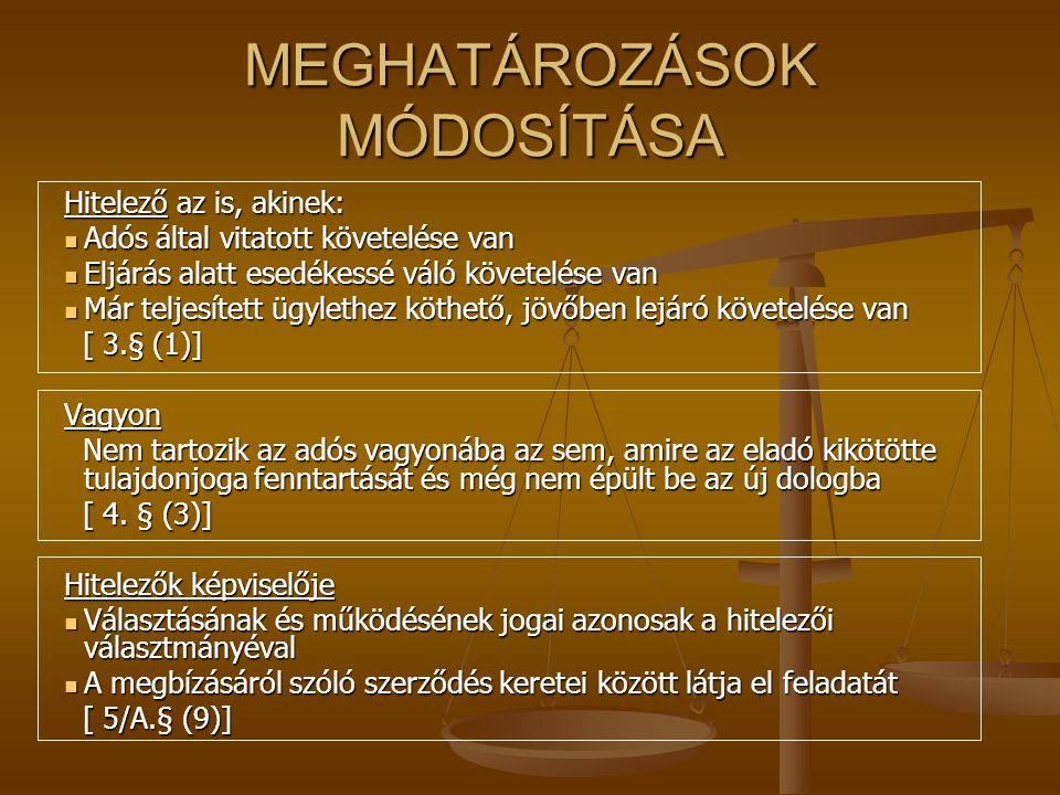 MEGHATÁROZÁSOK MÓDOSÍTÁSA Hitelező az is, akinek: Adós által vitatott követelése van Adós által vitatott követelése van Eljárás alatt esedékessé váló