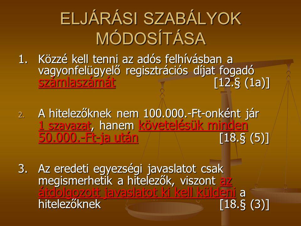 ELJÁRÁSI SZABÁLYOK MÓDOSÍTÁSA 1.Közzé kell tenni az adós felhívásban a vagyonfelügyelő regisztrációs díjat fogadó számlaszámát [12.§ (1a)] 2. A hitele