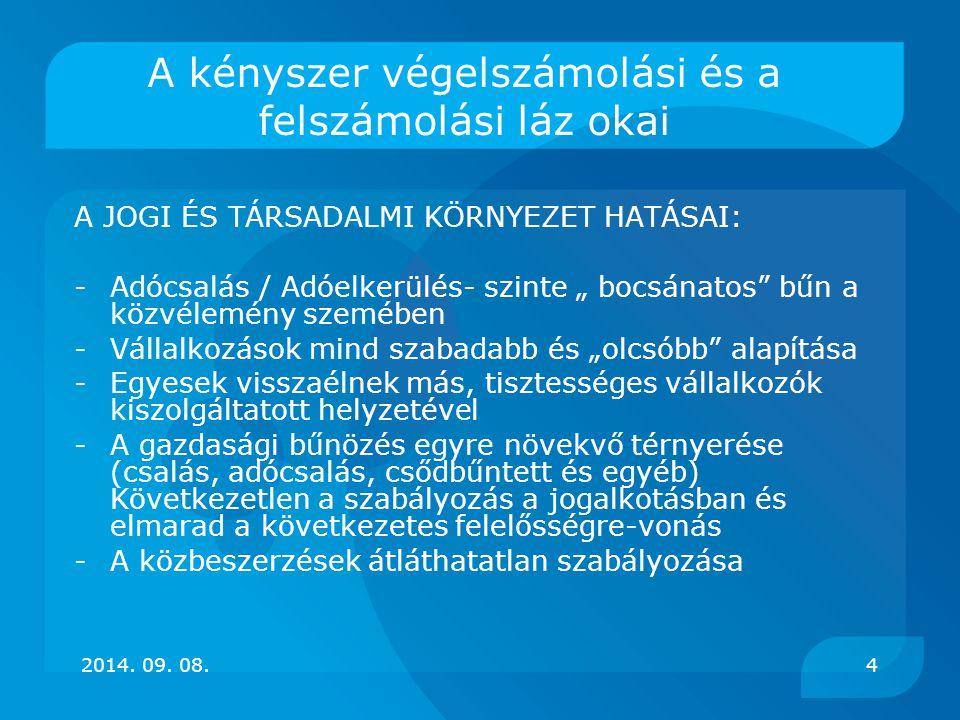 A közzétett új csődök, fel- és végelszámolási eljárások száma Feketelista.hu alapján 2014. 09. 08.5