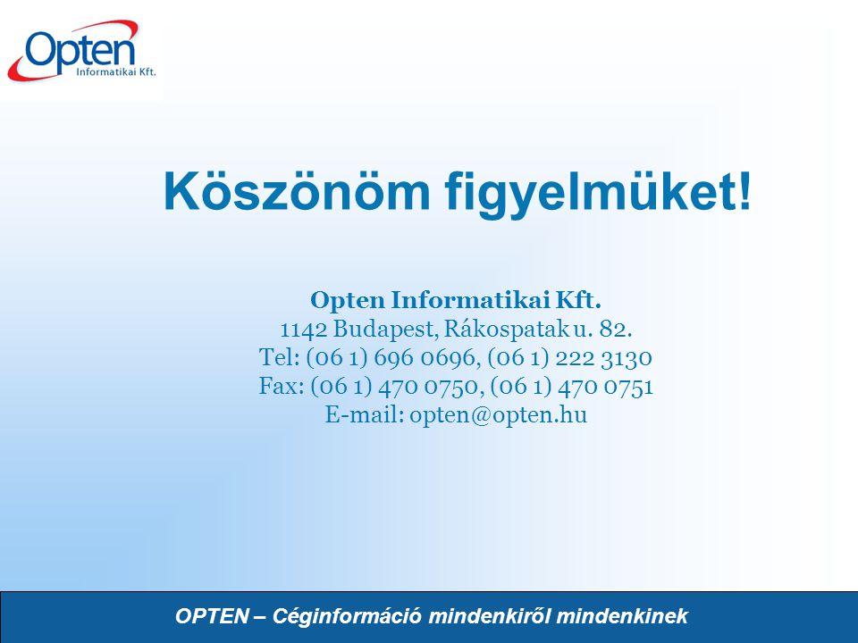 OPTEN – Céginformáció mindenkiről mindenkinek Köszönöm figyelmüket! Opten Informatikai Kft. 1142 Budapest, Rákospatak u. 82. Tel: (06 1) 696 0696, (06