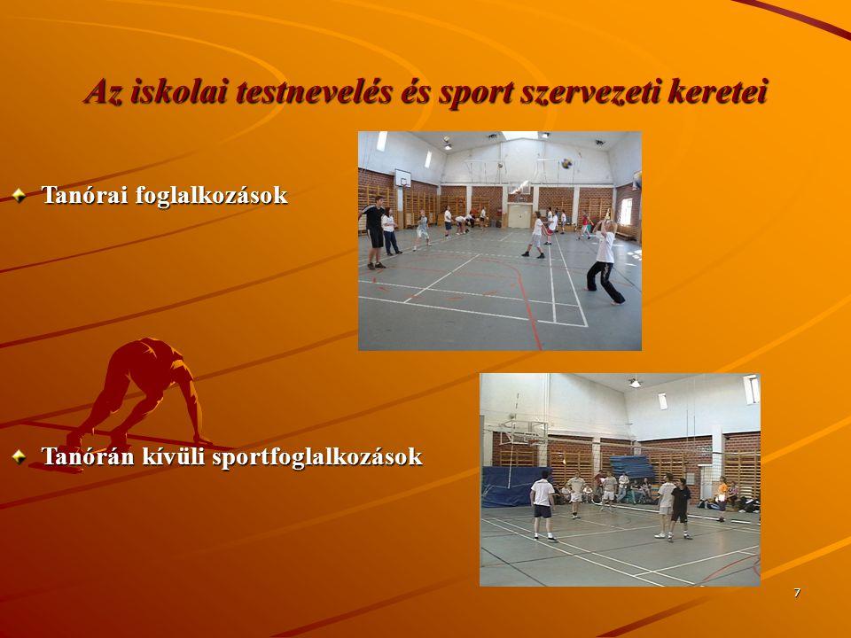 7 Az iskolai testnevelés és sport szervezeti keretei Tanórai foglalkozások Tanórán kívüli sportfoglalkozások