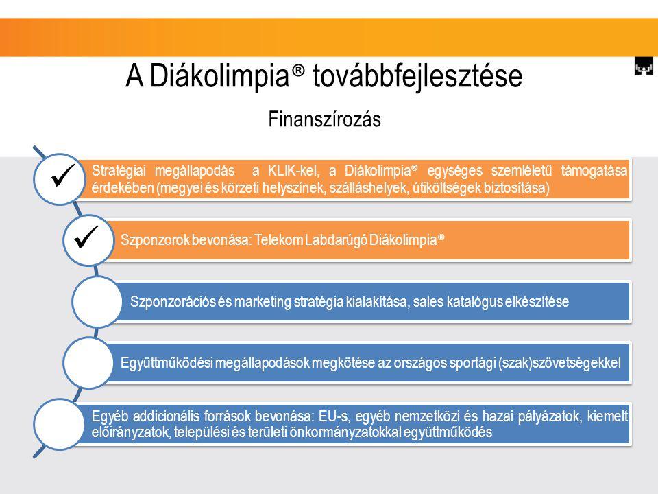 A Diákolimpia ® továbbfejlesztése Stratégiai megállapodás a KLIK-kel, a Diákolimpia ® egységes szemléletű támogatása érdekében (megyei és körzeti helyszínek, szálláshelyek, útiköltségek biztosítása) Szponzorok bevonása: Telekom Labdarúgó Diákolimpia ® Szponzorációs és marketing stratégia kialakítása, sales katalógus elkészítése Együttműködési megállapodások megkötése az országos sportági (szak)szövetségekkel Egyéb addicionális források bevonása: EU-s, egyéb nemzetközi és hazai pályázatok, kiemelt előirányzatok, települési és területi önkormányzatokkal együttműködés Finanszírozás
