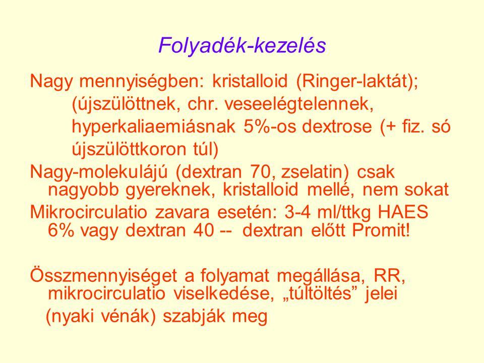 Folyadék-kezelés Nagy mennyiségben: kristalloid (Ringer-laktát); (újszülöttnek, chr. veseelégtelennek, hyperkaliaemiásnak 5%-os dextrose (+ fiz. só új