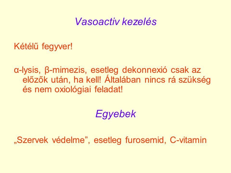 Vasoactiv kezelés Kétélű fegyver! α-lysis, β-mimezis, esetleg dekonnexió csak az előzők után, ha kell! Általában nincs rá szükség és nem oxiológiai fe