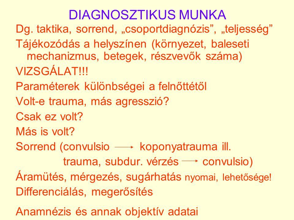 """DIAGNOSZTIKUS MUNKA Dg. taktika, sorrend, """"csoportdiagnózis"""", """"teljesség"""" Tájékozódás a helyszínen (környezet, baleseti mechanizmus, betegek, részvevő"""