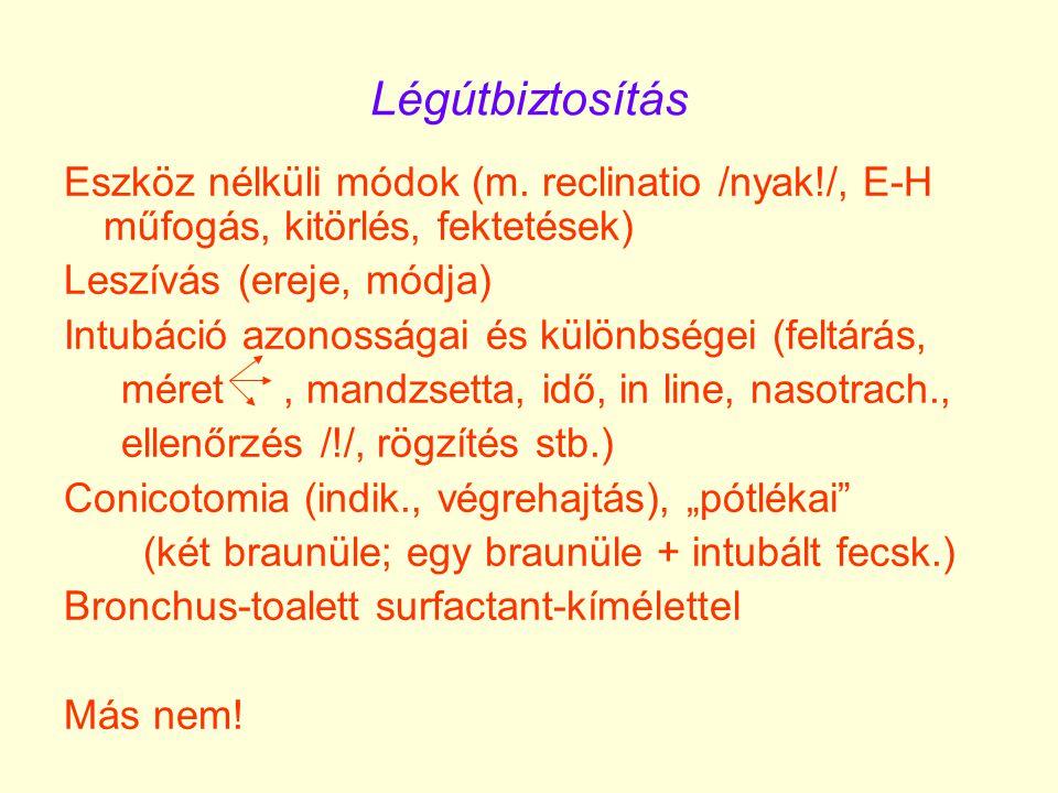 Narkózis: premedikáció kérdése ketamin: 1-2 mg/ttkg iv., 3-10 mg/ttkg im.