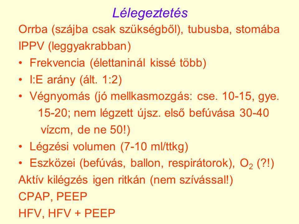 Lélegeztetés Orrba (szájba csak szükségből), tubusba, stomába IPPV (leggyakrabban) Frekvencia (élettaninál kissé több) I:E arány (ált. 1:2) Végnyomás
