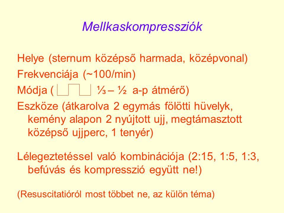Mellkaskompressziók Helye (sternum középső harmada, középvonal) Frekvenciája (~100/min) Módja ( ⅓ – ½ a-p átmérő) Eszköze (átkarolva 2 egymás fölötti