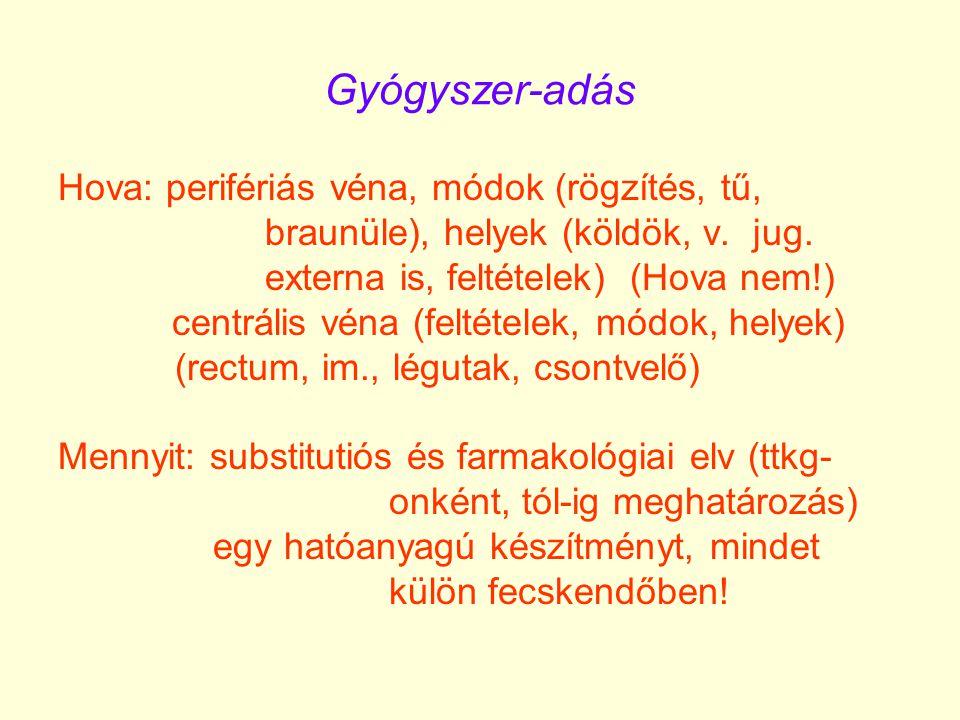 Gyógyszer-adás Hova: perifériás véna, módok (rögzítés, tű, braunüle), helyek (köldök, v. jug. externa is, feltételek) (Hova nem!) centrális véna (felt