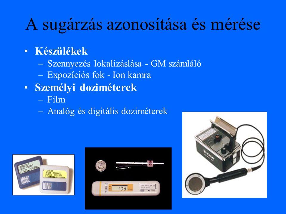A sugárzás azonosítása és mérése Készülékek –Szennyezés lokalizáslása - GM számláló –Expozíciós fok - Ion kamra Személyi doziméterek –Film –Analóg és digitális doziméterek