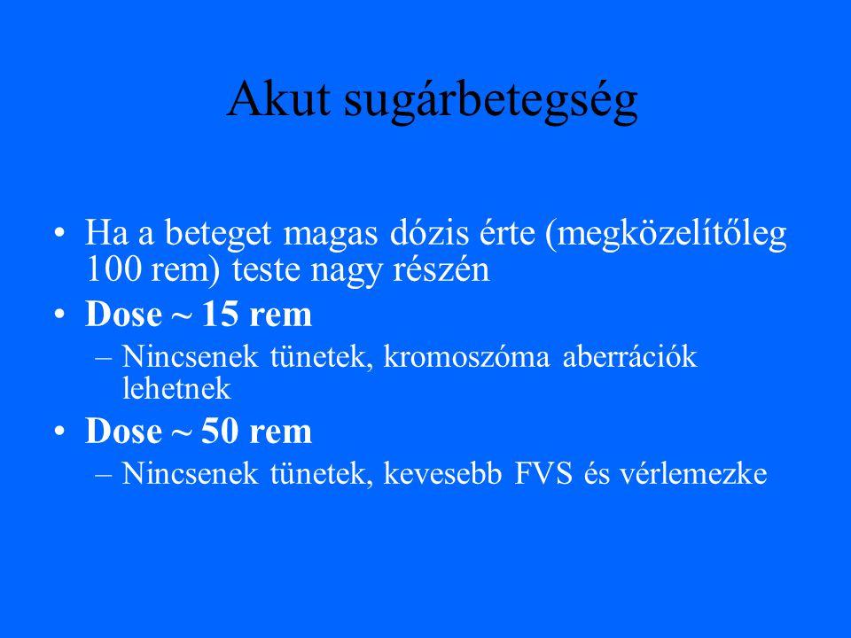 Ha a beteget magas dózis érte (megközelítőleg 100 rem) teste nagy részén Dose ~ 15 rem –Nincsenek tünetek, kromoszóma aberrációk lehetnek Dose ~ 50 rem –Nincsenek tünetek, kevesebb FVS és vérlemezke Akut sugárbetegség