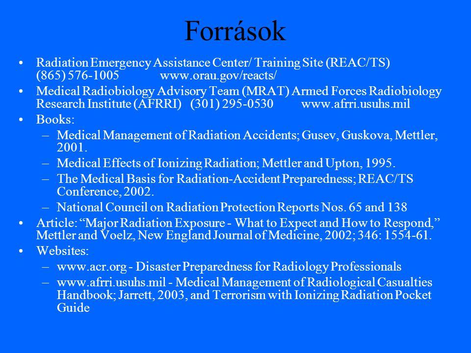 Források Radiation Emergency Assistance Center/ Training Site (REAC/TS) (865) 576-1005www.orau.gov/reacts/ Medical Radiobiology Advisory Team (MRAT) A
