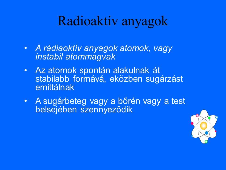 Radioaktív anyagok A rádiaoktív anyagok atomok, vagy instabil atommagvak Az atomok spontán alakulnak át stabilabb formává, eközben sugárzást emittálnak A sugárbeteg vagy a bőrén vagy a test belsejében szennyeződik