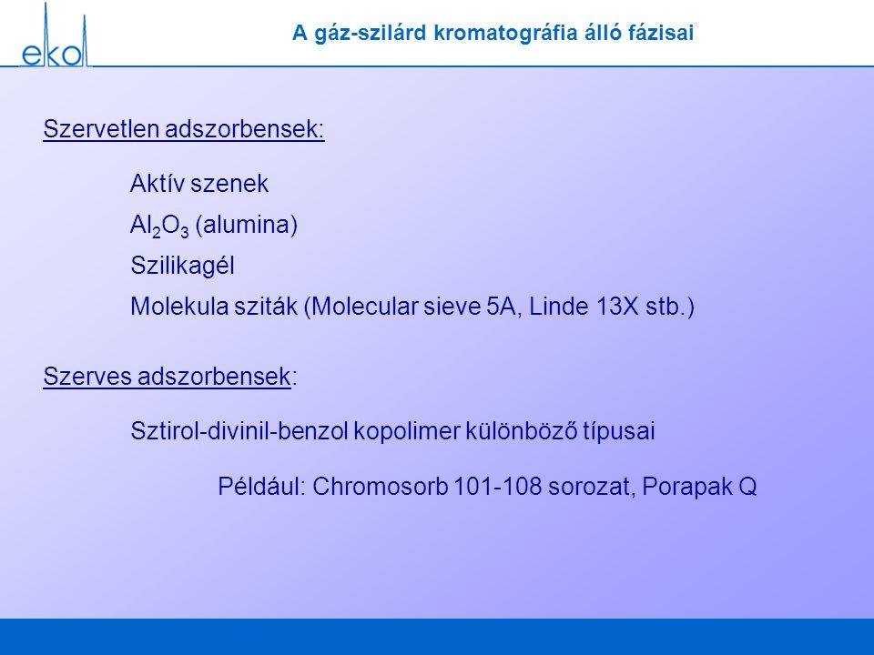 A gáz-szilárd kromatográfia álló fázisai Szervetlen adszorbensek: Aktív szenek Al 2 O 3 (alumina) Szilikagél Molekula sziták (Molecular sieve 5A, Lind