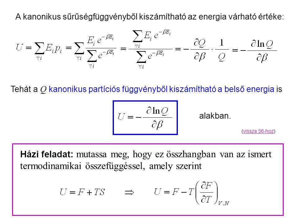 Kanonikus energia A kanonikus sűrűségfüggvényből kiszámítható az energia várható értéke: Tehát a Q kanonikus partíciós függvényből kiszámítható a belső energia is Házi feladat: mutassa meg, hogy ez összhangban van az ismert termodinamikai összefüggéssel, amely szerint alakban.