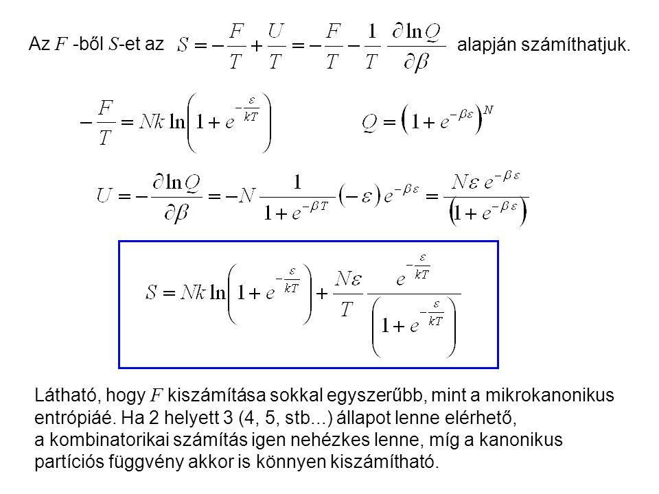 Kétállapotú molekulák kanonikus leírása 2 Az F -ből S -et az alapján számíthatjuk.