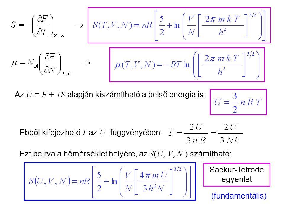 Ideális gázok 9 Az U = F + TS alapján kiszámítható a belső energia is: Sackur-Tetrode egyenlet Ebből kifejezhető T az U függvényében: Ezt beírva a hőmérséklet helyére, az S(U, V, N ) számítható: (fundamentális)