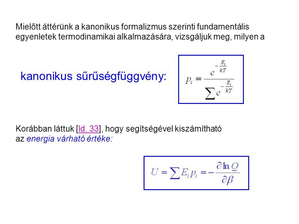 A kanonikus sűrűségfüggvény tulajdonságai Korábban láttuk [ld.