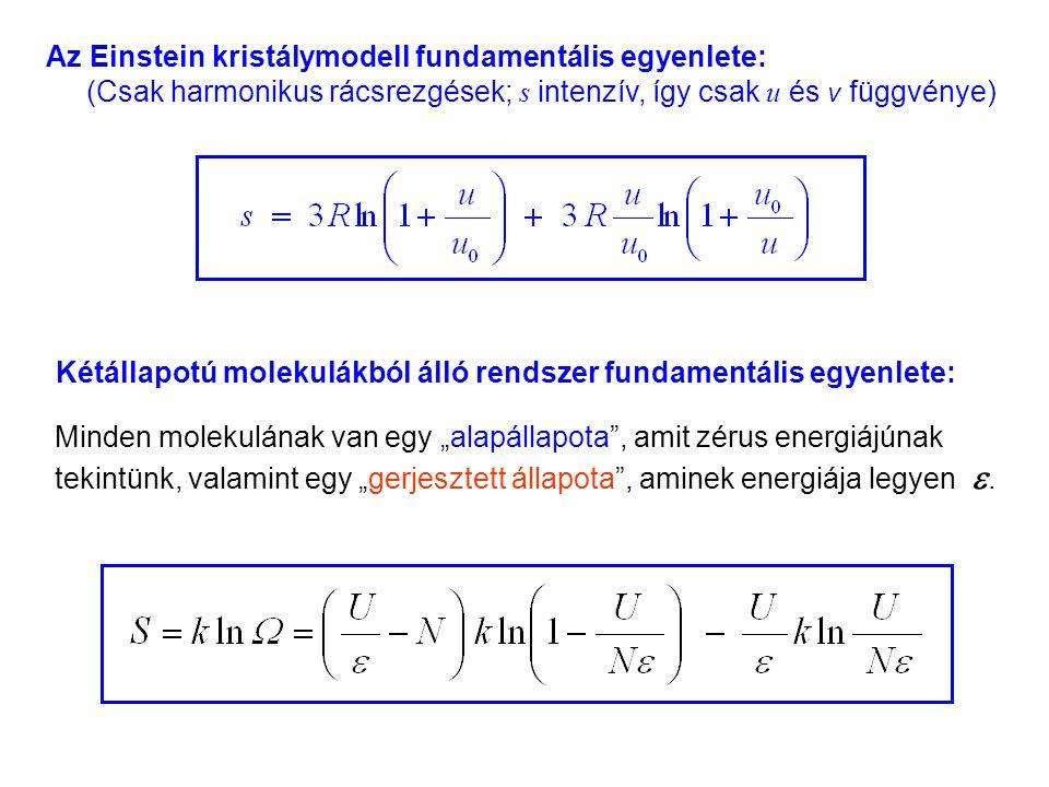 """Einstein kristálymodell 6 Az Einstein kristálymodell fundamentális egyenlete: (Csak harmonikus rácsrezgések; s intenzív, így csak u és v függvénye) Kétállapotú molekulákból álló rendszer fundamentális egyenlete: Minden molekulának van egy """"alapállapota , amit zérus energiájúnak tekintünk, valamint egy """"gerjesztett állapota , aminek energiája legyen ."""