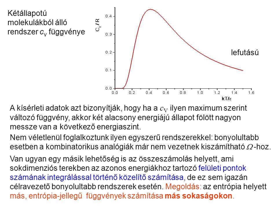 A kísérleti adatok azt bizonyítják, hogy ha a c V ilyen maximum szerint változó függvény, akkor két alacsony energiájú állapot fölött nagyon messze van a következő energiaszint.
