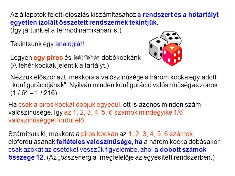 Ha csak a piros kockát dobjuk egyedül, ott is azonos minden szám valószínűsége.