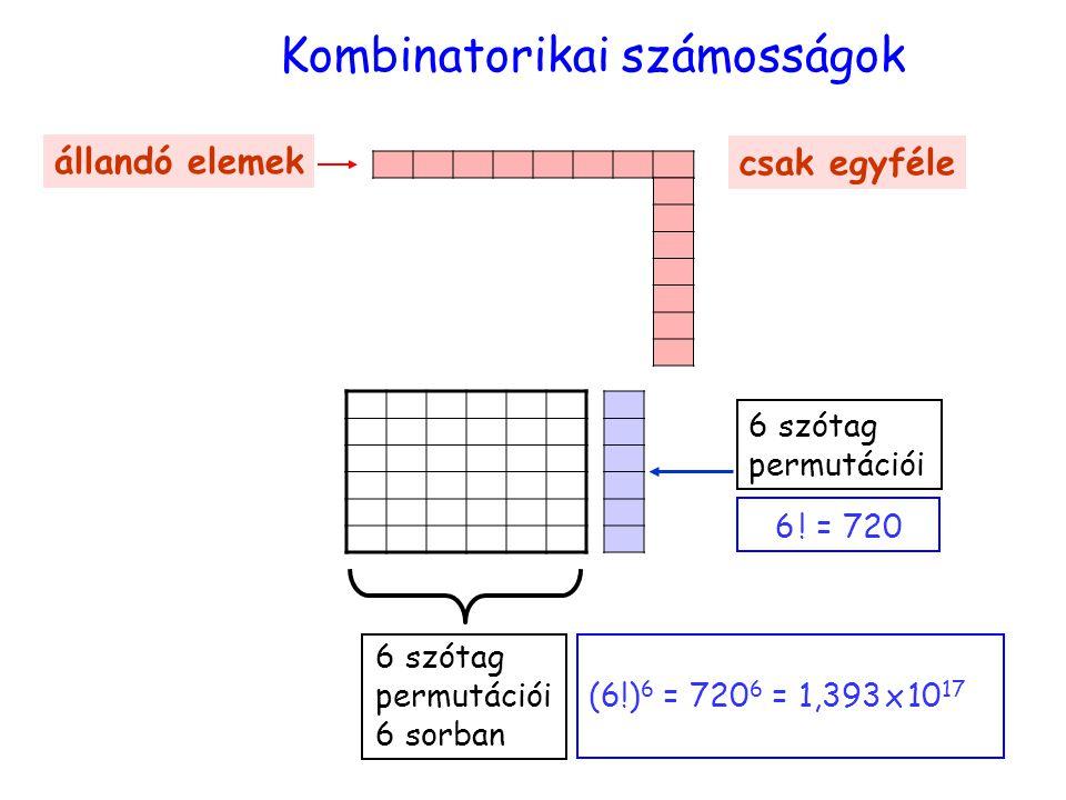 számosság Kombinatorikai számosságok 6 szótag permutációi 6 sorban állandó elemek csak egyféle 6 szótag permutációi 6 ! = 720 (6!) 6 = 720 6 = 1,393 x
