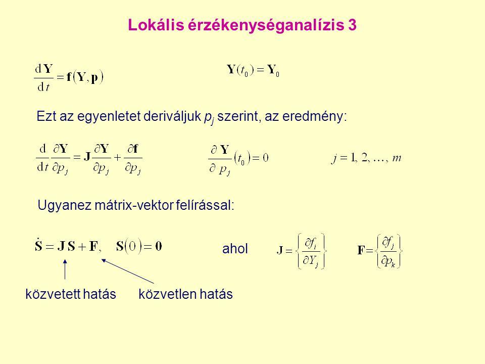 Lokális érzékenységanalízis 3 Ugyanez mátrix-vektor felírással: ahol közvetett hatásközvetlen hatás Ezt az egyenletet deriváljuk p j szerint, az eredm