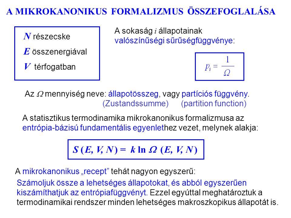 """A MIKROKANONIKUS FORMALIZMUS ÖSSZEFOGLALÁSA S ( E, V, N ) = k ln  ( E, V, N ) A mikrokanonikus """"recept tehát nagyon egyszerű: Az  mennyiség neve: állapotösszeg, vagy partíciós függvény."""