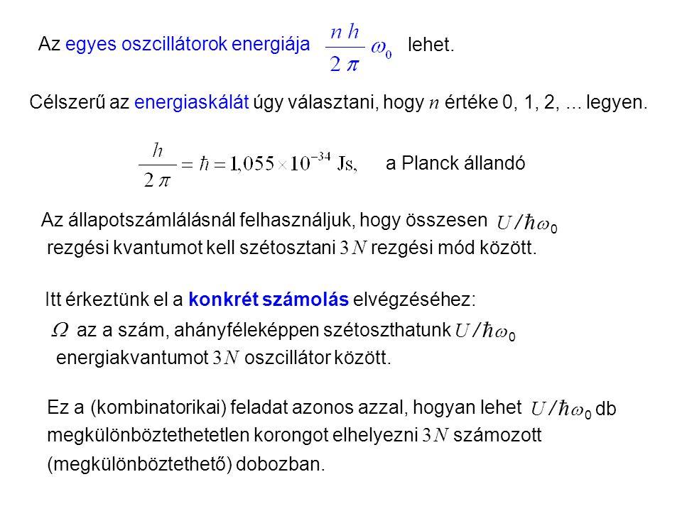 Einstein kristálymodell 2 Az egyes oszcillátorok energiája Célszerű az energiaskálát úgy választani, hogy n értéke 0, 1, 2,...