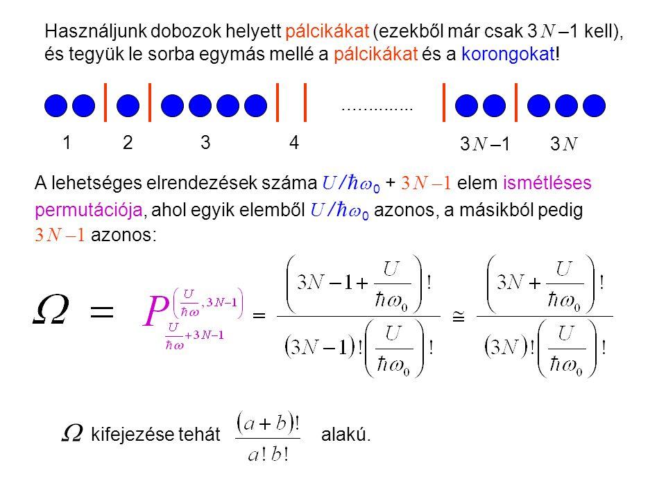 Einstein kristálymodell 3 Használjunk dobozok helyett pálcikákat (ezekből már csak 3 N –1 kell), és tegyük le sorba egymás mellé a pálcikákat és a korongokat!..............