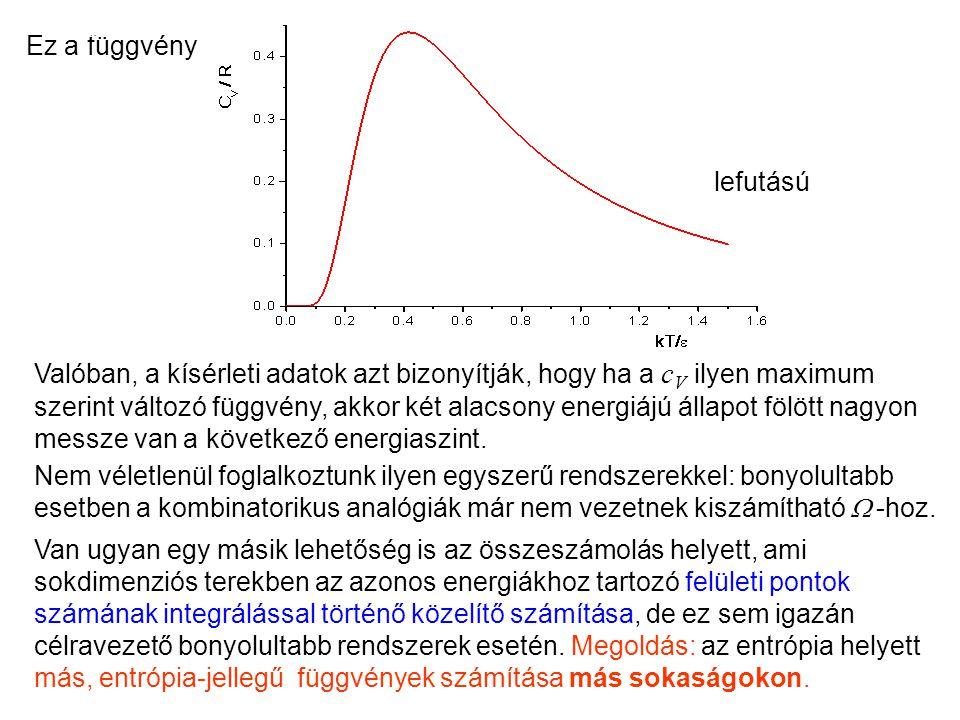 Valóban, a kísérleti adatok azt bizonyítják, hogy ha a c V ilyen maximum szerint változó függvény, akkor két alacsony energiájú állapot fölött nagyon messze van a következő energiaszint.