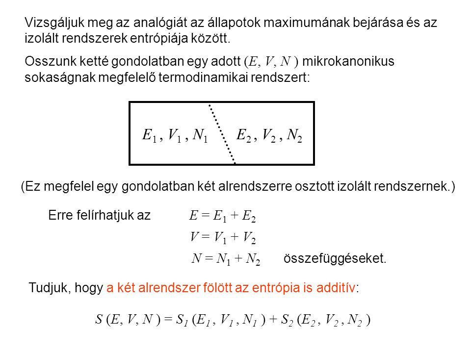 Mikrokanonikus entrópia 1 Vizsgáljuk meg az analógiát az állapotok maximumának bejárása és az izolált rendszerek entrópiája között.