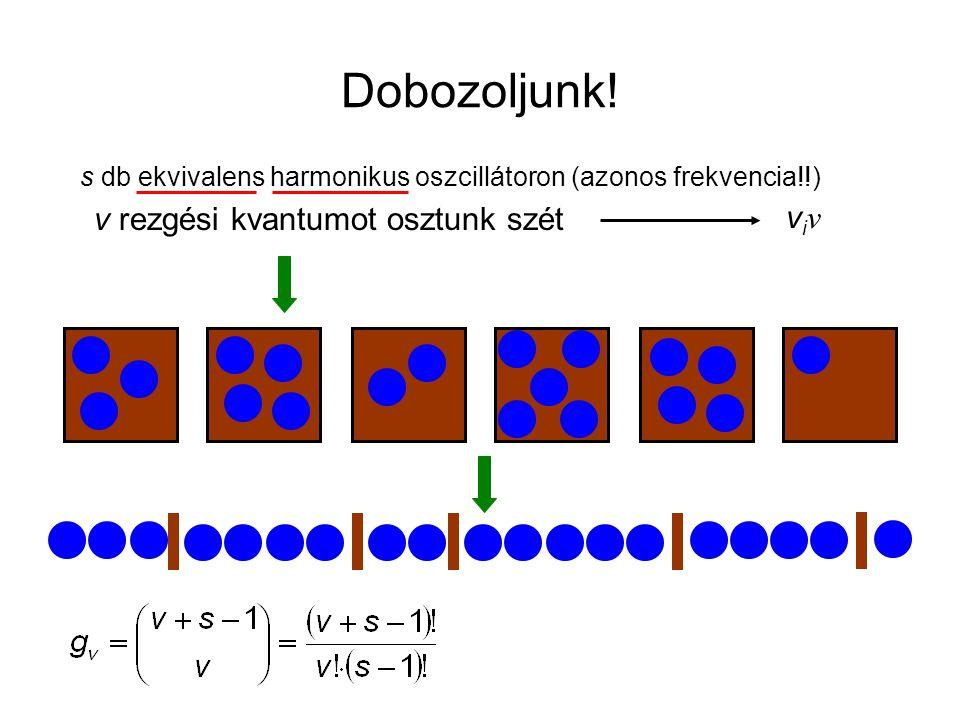 Dobozoljunk! s db ekvivalens harmonikus oszcillátoron (azonos frekvencia!!) v rezgési kvantumot osztunk szét viνviν