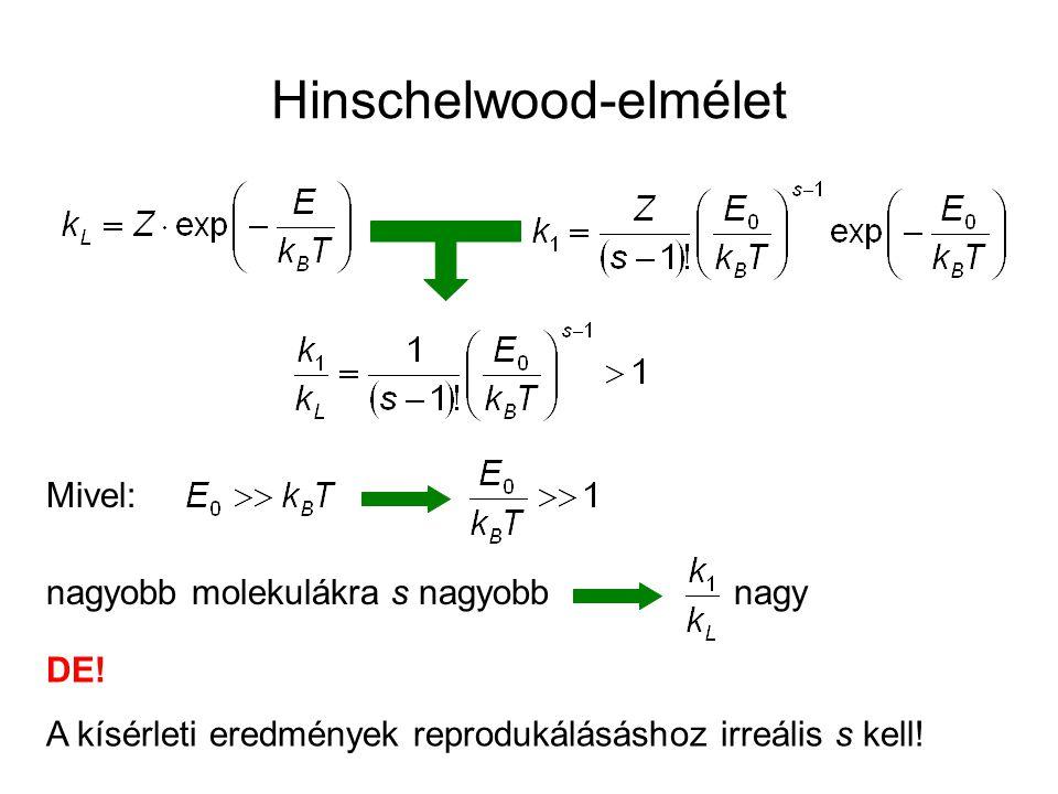Hinschelwood-elmélet Mivel: nagyobb molekulákra s nagyobb DE! A kísérleti eredmények reprodukálásáshoz irreális s kell! nagy