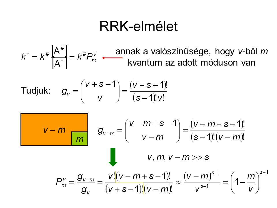 RRK-elmélet annak a valószínűsége, hogy v-ből m kvantum az adott móduson van Tudjuk: v – m m