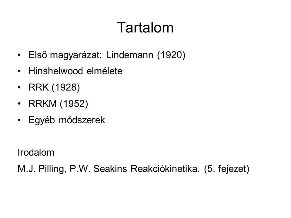 Tartalom Első magyarázat: Lindemann (1920) Hinshelwood elmélete RRK (1928) RRKM (1952) Egyéb módszerek Irodalom M.J. Pilling, P.W. Seakins Reakciókine