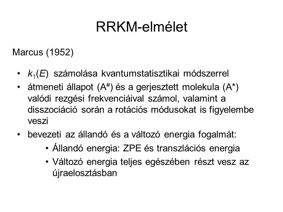 RRKM-elmélet Marcus (1952) k 1 (E) számolása kvantumstatisztikai módszerrel átmeneti állapot (A # ) és a gerjesztett molekula (A*) valódi rezgési frek