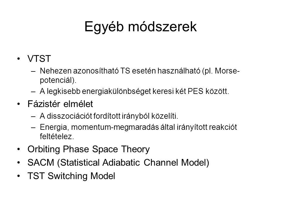 Egyéb módszerek VTST –Nehezen azonosítható TS esetén használható (pl. Morse- potenciál). –A legkisebb energiakülönbséget keresi két PES között. Fázist