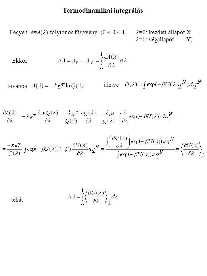 Ekkor továbbá illetve tehát Termodinamikai integrálás Legyen A=A( ) folytonos függvény (0   1, =0: kezdeti állapot X =1: végállapot Y)