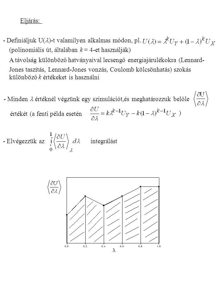 - Definiáljuk U( )-t valamilyen alkalmas módon, pl. (polinomiális út, általában k = 4-et használják) A távolság különböző hatványaival lecsengő energi